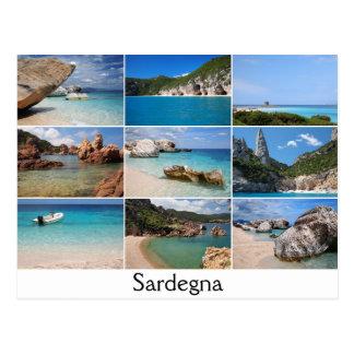 Sardinia beaches collage text postcard