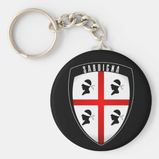 Sardinia, Shield Crest (black) Key Ring