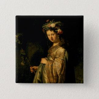 Saskia as Flora, 1634 15 Cm Square Badge