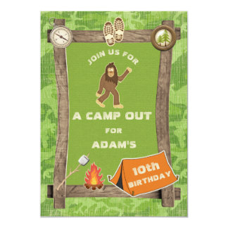 Sasquatch and Camo Camp Out Birthday Party 13 Cm X 18 Cm Invitation Card