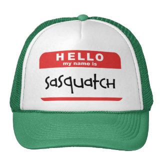 sasquatch name badge trucker hat big foot bobo