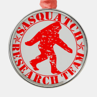 Sasquatch Research Team Silver-Colored Round Decoration