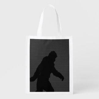 Sasquatch Silhouette on Carbon Fiber decor Reusable Grocery Bag