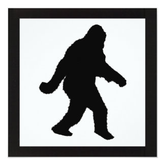 "Sasquatch Squatchin' Silhouette 5.25"" Square Invitation Card"