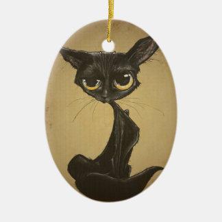 Sassy Black Cat Caricature Ceramic Ornament