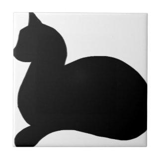 Sassy Black Cat Small Square Tile
