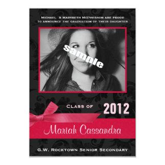 Sassy Black & Pink Photo Graduation Party 13 Cm X 18 Cm Invitation Card