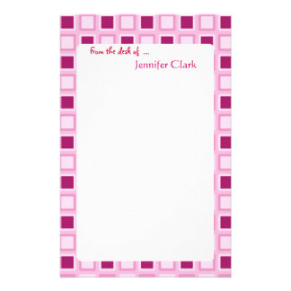 Sassy Candy Pink Squares Custom Personalized Stationery