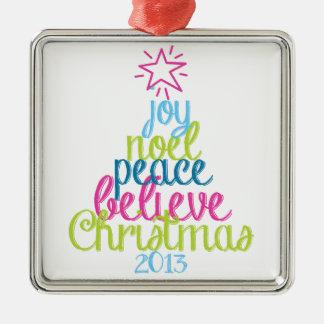 Sassy Christmas Word Tree Metal Ornament