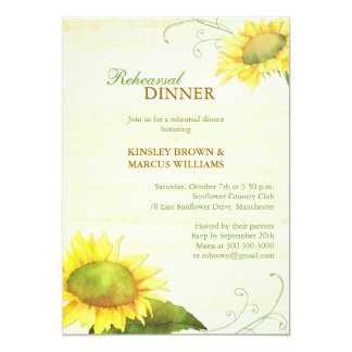 Sassy Country Sunflowers Rehearsal Dinner Card