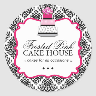 Sassy Damask Cake - Packaging Stickers