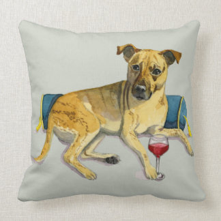 Sassy Dog Enjoying Wine Watercolor Painting Cushion