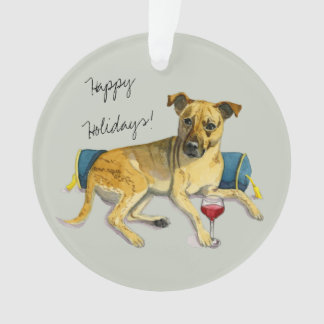 Sassy Dog Enjoying Wine Watercolor Painting Ornament