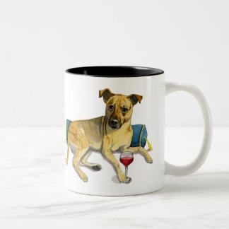 Sassy Dog Enjoying Wine Watercolor Painting Two-Tone Coffee Mug