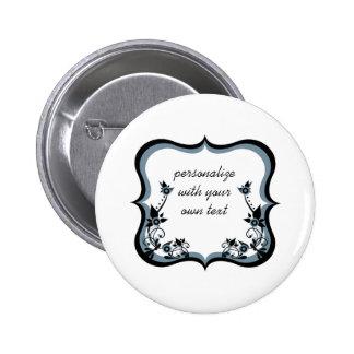 Sassy Floral Frame Button, Dark Periwinkle