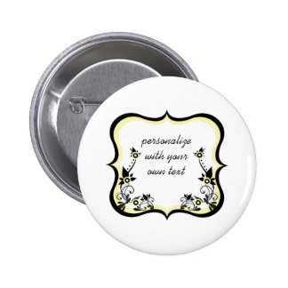 Sassy Floral Frame Button, Light Yellow