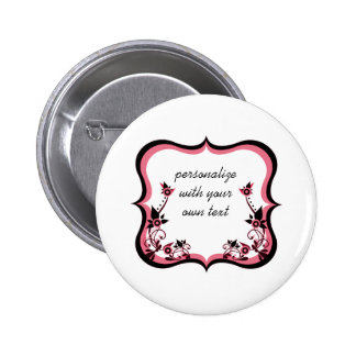 Sassy Floral Frame Button, Pink