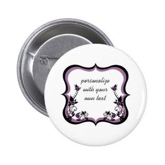 Sassy Floral Frame Button, Purple