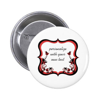 Sassy Floral Frame Button, Red