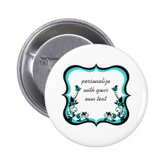 Sassy Floral Frame Button, Turquoise