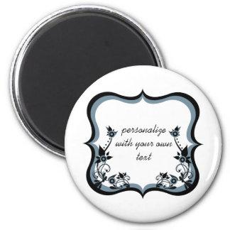 Sassy Floral Frame Magnet, Dark Periwinkle 6 Cm Round Magnet
