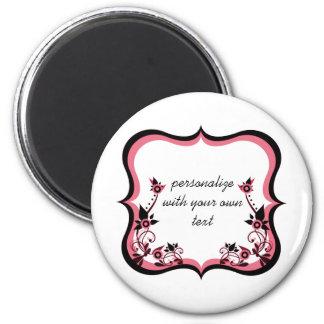 Sassy Floral Frame Magnet, Pink 6 Cm Round Magnet
