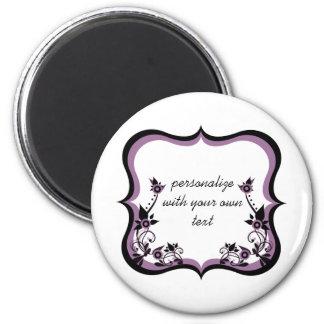 Sassy Floral Frame Magnet, Purple 6 Cm Round Magnet