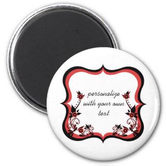 Sassy Floral Frame Magnet, Red 6 Cm Round Magnet