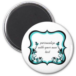 Sassy Floral Frame Magnet, Turquoise 6 Cm Round Magnet