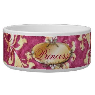 Sassy Fuchsia Gold Damask Dog Food Bowl