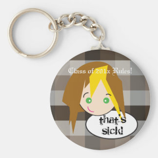Sassy Girls: Plaid Brunette Head Basic Round Button Key Ring
