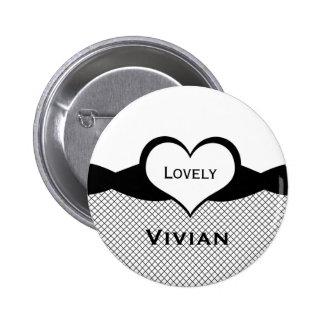 Sassy Heart Fishnet Button, Black and White