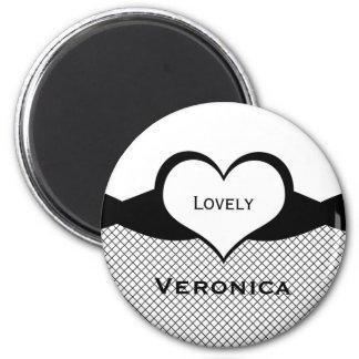Sassy Heart Fishnet Magnet, Black and White 6 Cm Round Magnet