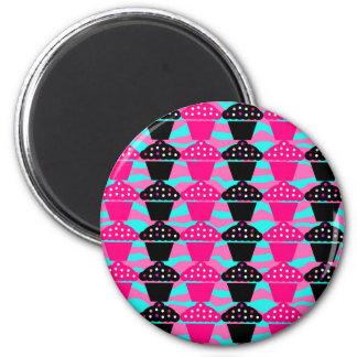 Sassy Hot Pink and Black Cupcake and Zebra Stripe 6 Cm Round Magnet