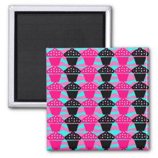 Sassy Hot Pink and Black Cupcake and Zebra Stripe Square Magnet