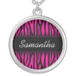 Sassy Hot Pink Zebra Personalised Round Pendant Necklace