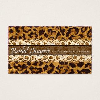 Sassy Lace Leopard Bridal Lingerie Lacy Garter Business Card