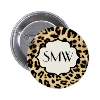 Sassy Leopard Print Monogrammed 6 Cm Round Badge