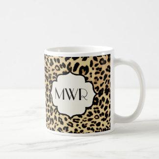 Sassy Leopard Print Monogrammed Basic White Mug