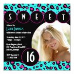 Sassy Leopard Sweet Sixteen Photo Invite [Teal]