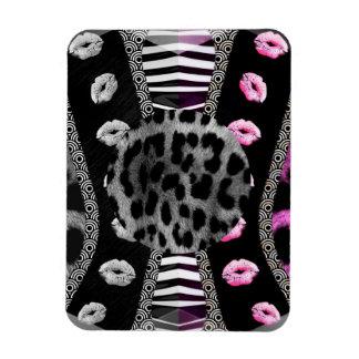 Sassy Lips Leopard Zebra Rectangular Photo Magnet