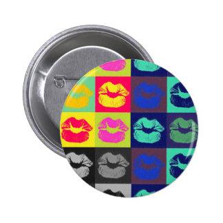 Sassy Lips Tri Colors 6 Cm Round Badge