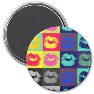 Sassy Lips Tri Colors 7.5 Cm Round Magnet