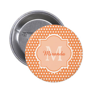 Sassy Orange Polka Dots Monogram With Name 6 Cm Round Badge
