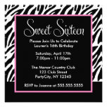 Sassy Pink and Black Zebra Print Announcements