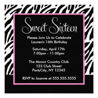 Sassy Pink and Black Zebra Print Announcements