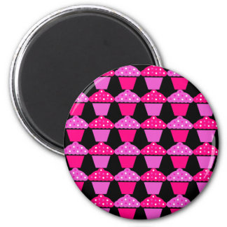 Sassy Pink and Purple Cupcakes on Black 6 Cm Round Magnet