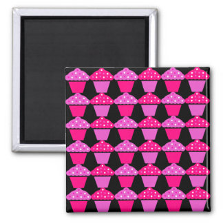 Sassy Pink and Purple Cupcakes on Black Square Magnet
