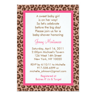 Sassy Pink Leopard Print Baby Shower Invitations