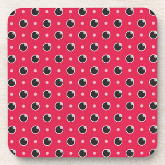 Sassy Polka Dot Coasters Set - Berry Pink